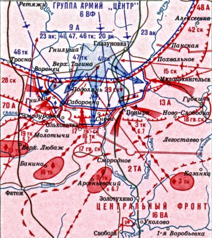 Карта борбених дејстава Орелско-Курски правац