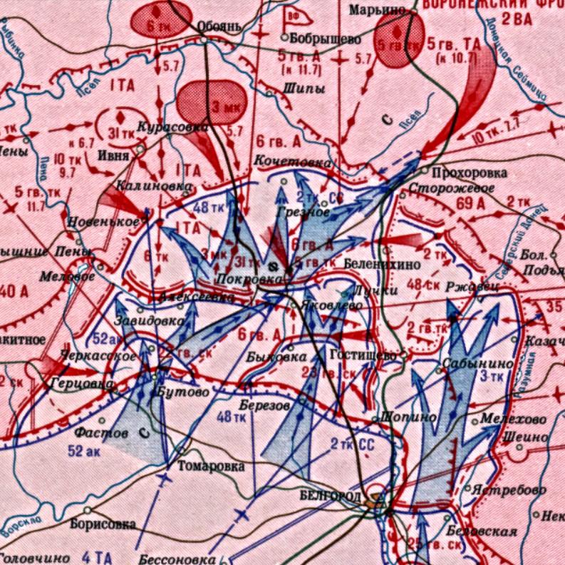Карта борбених дејстава-Белгородско-Курски правац