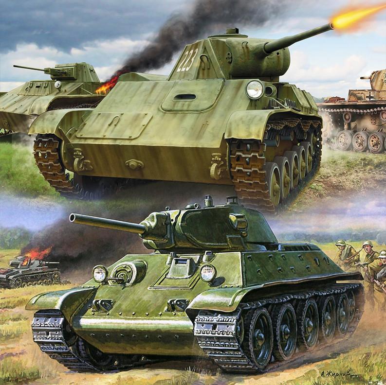Sovjetski laki tenk T-70 i srednji tenk T-34-76