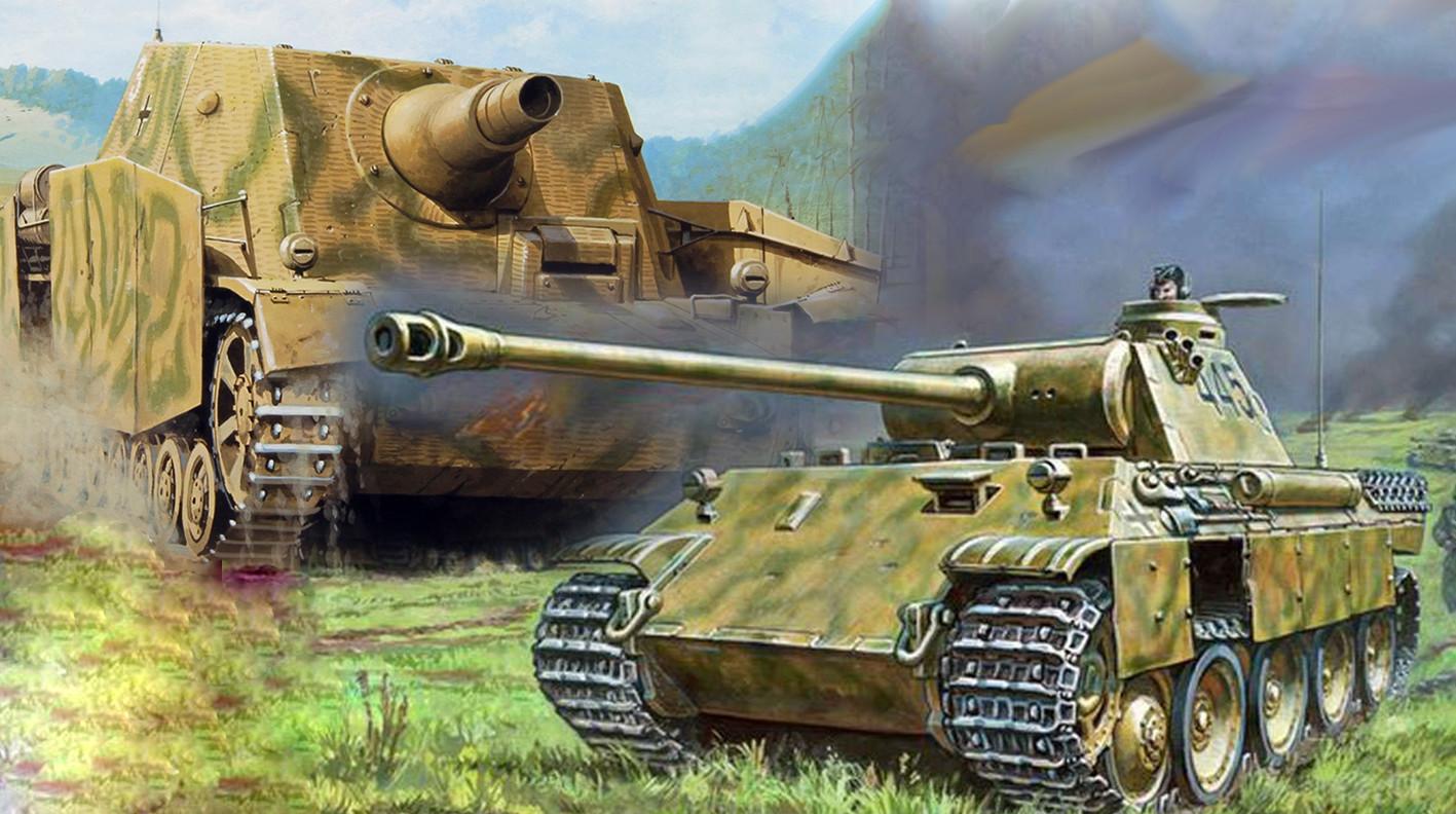 Podporni oklepnik Sturmpanzer IV Brummbär in bojni tank Pz.Kpfw.V  Panther