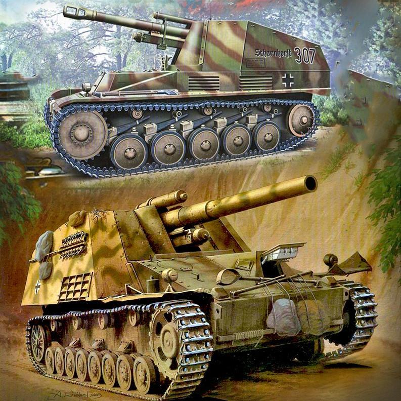 Samohodna artilerija SdKfz 124 Wespe in samohodna havbica Sd. Kfz. 165 Hummel