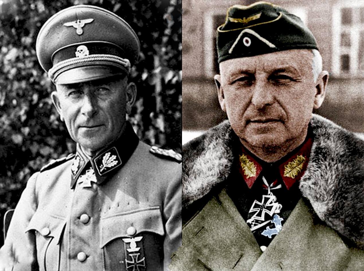 Немачки генерал Паул Хаусер (кмд.2.тк.-СС) и федмаршал Ерих фон Манштајн кмд. Групе армија