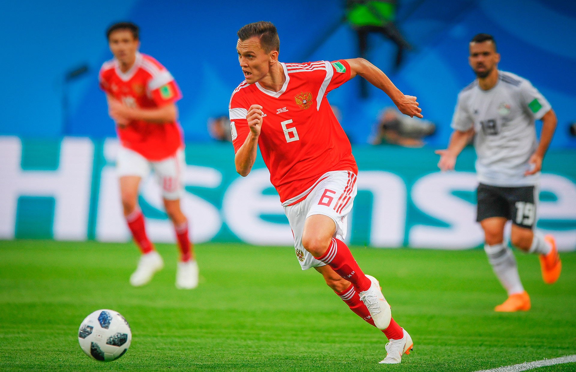 Denis Cheryshev, Team Russia's best striker on the tournament. He scored in matches against Saudi Arabia (twice), Egypt, and Croatia.
