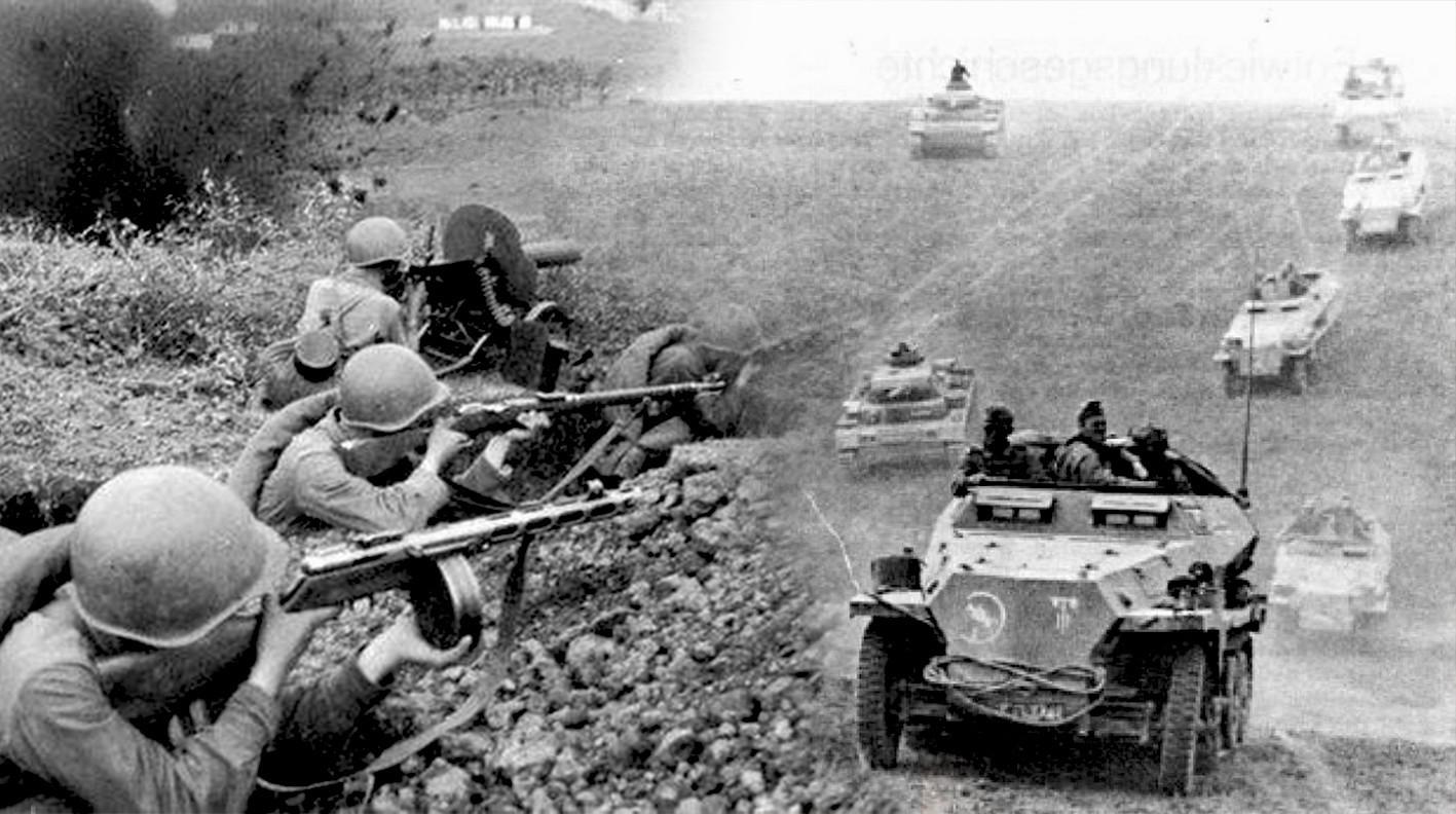 Spopad sovjetskih gardistov z nemškimi SS enotami.