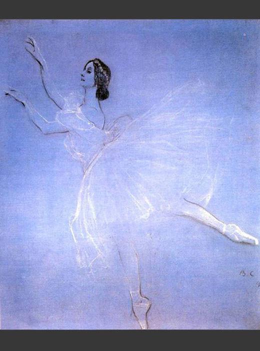 Anna Pávlova en La Sílfide, 1909.