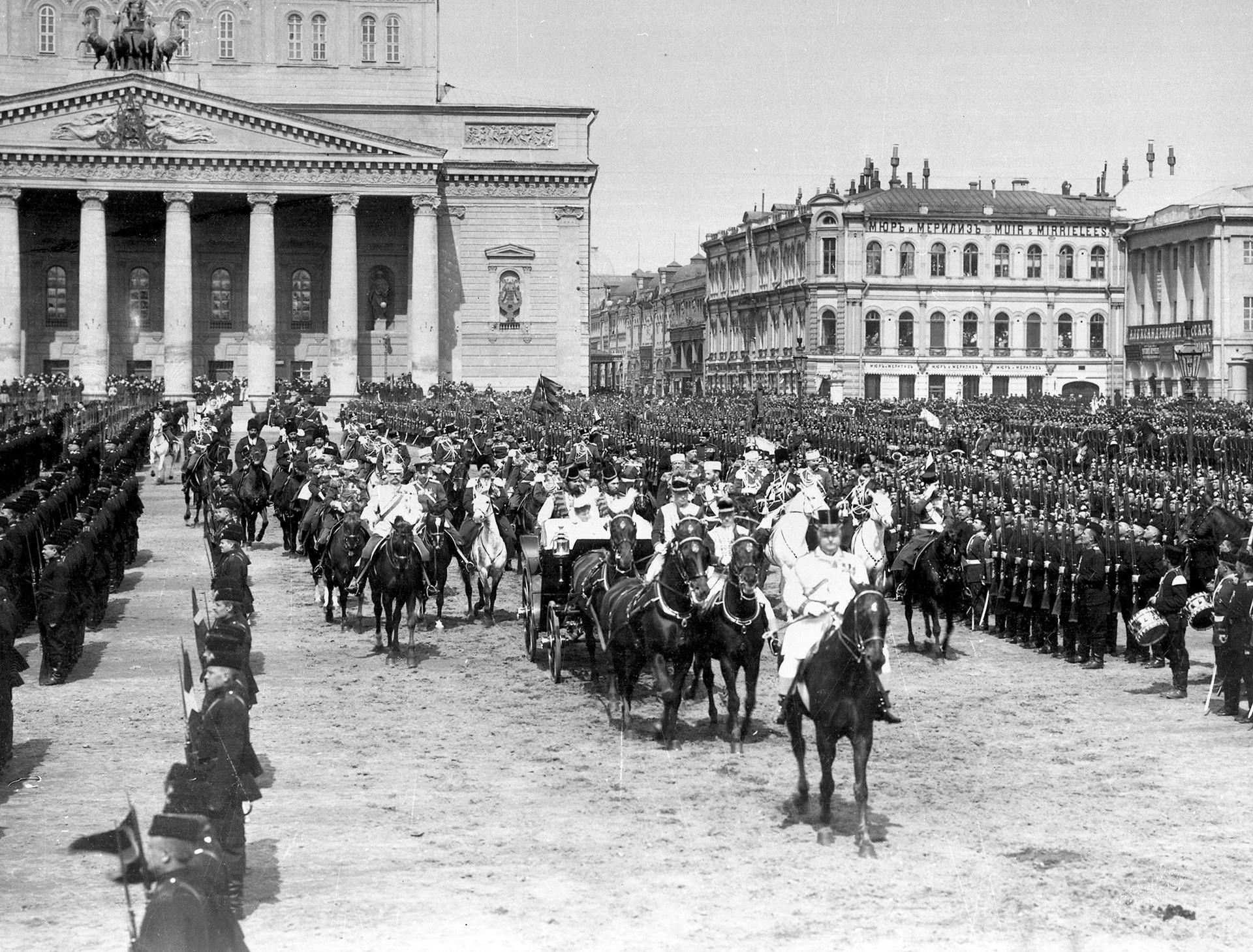 Desfile de la guarnición militar de Moscú. Moscú, 1903.