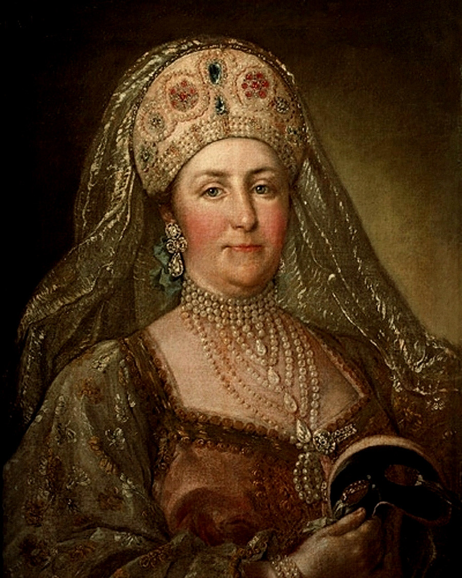 Portrait of Catherine II of Russia (1729-1796) wearing an old Russian dress. by Stephan Torelli - - - State Historical Museum
