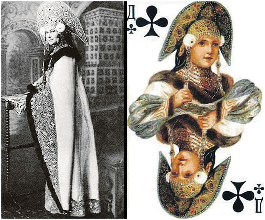 The queen of clubs was largely borrowed from the dress of Grand Duchess Elizaveta Fedorovna