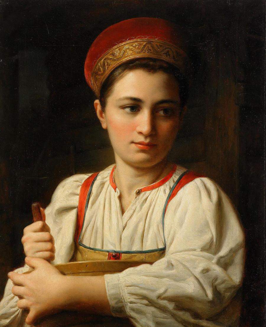 「農民の女性」。画家の名は不明。