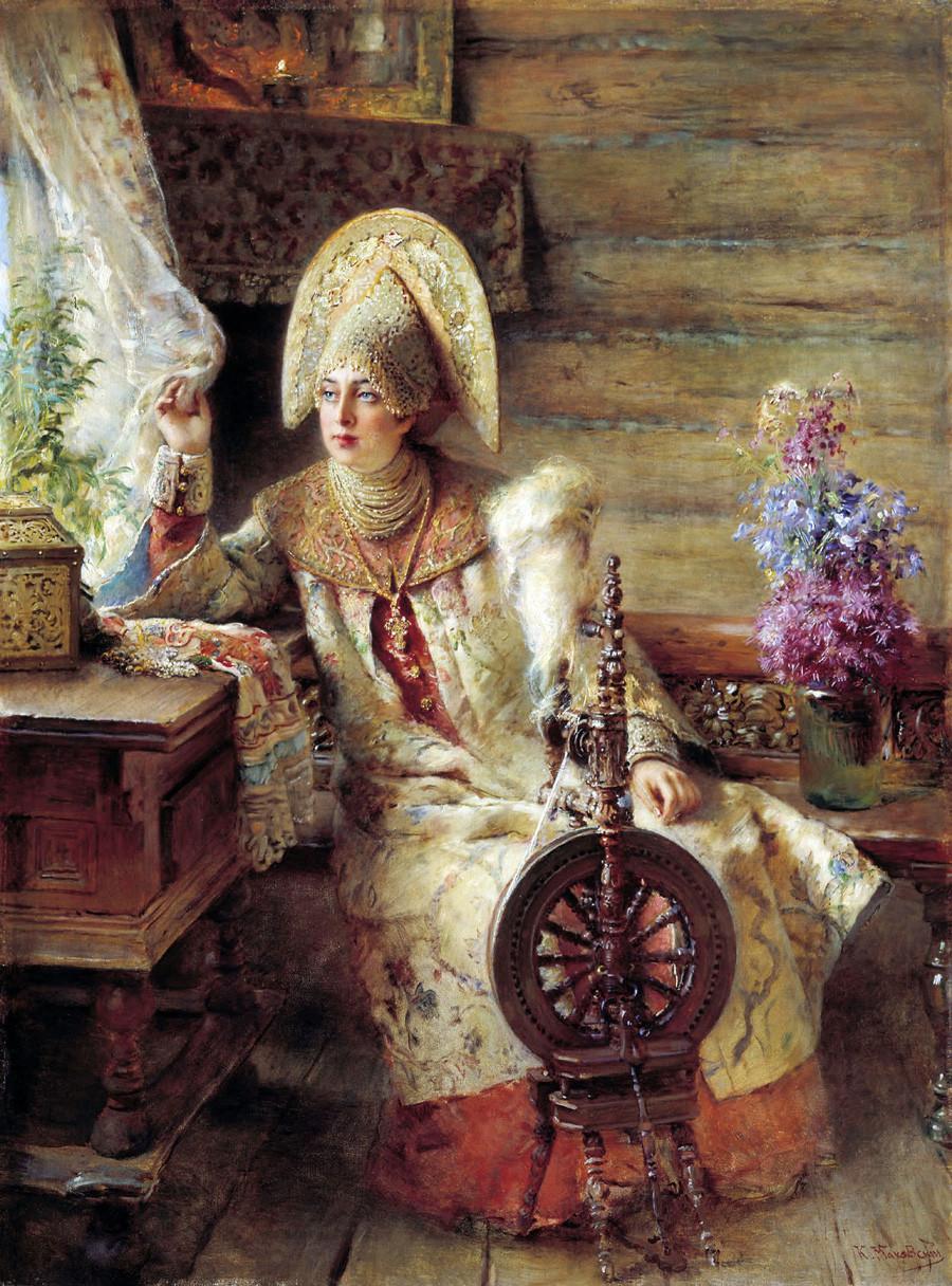 コンスタンチン・マコフスキー「窓を覗いているボヤーリシニャ」