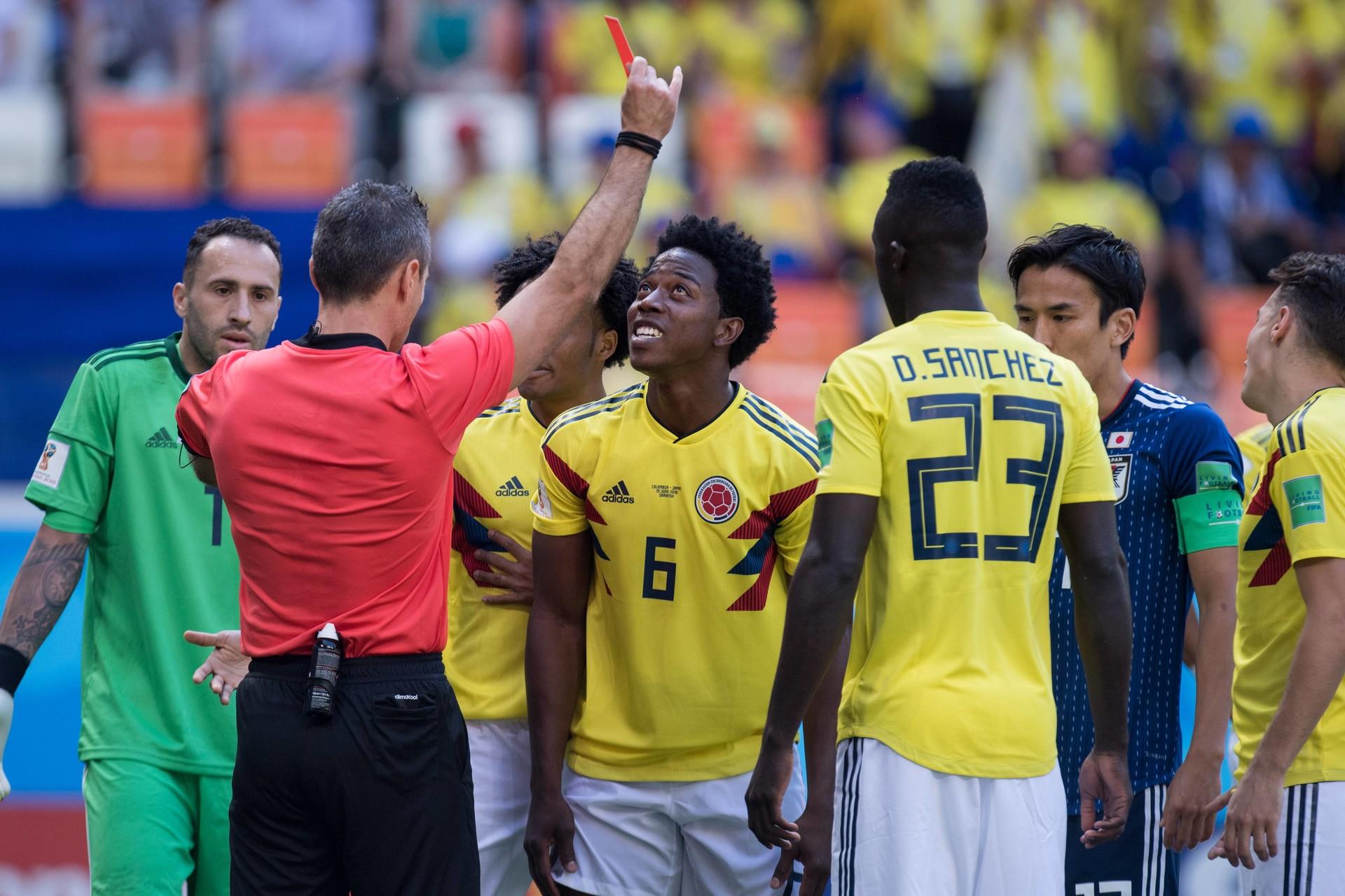 Skomina je pokazal prvi rdeči karton na SP v Rusiji, na tekmi Kolumbija - Japonska