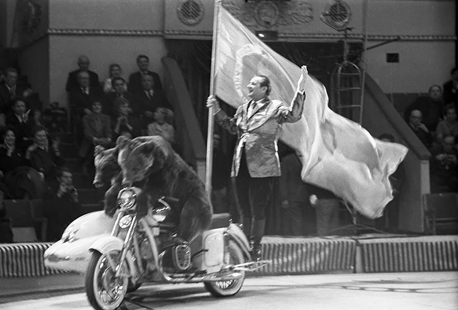 Valentin Filatov dengan beruang terlatih dalam pertunjukan di malam gala yang didedikasikan untuk ulang tahun ke-50 sirkus Soviet. Sirkus Moskow di Tsvetnoy Boulevard. 1969.