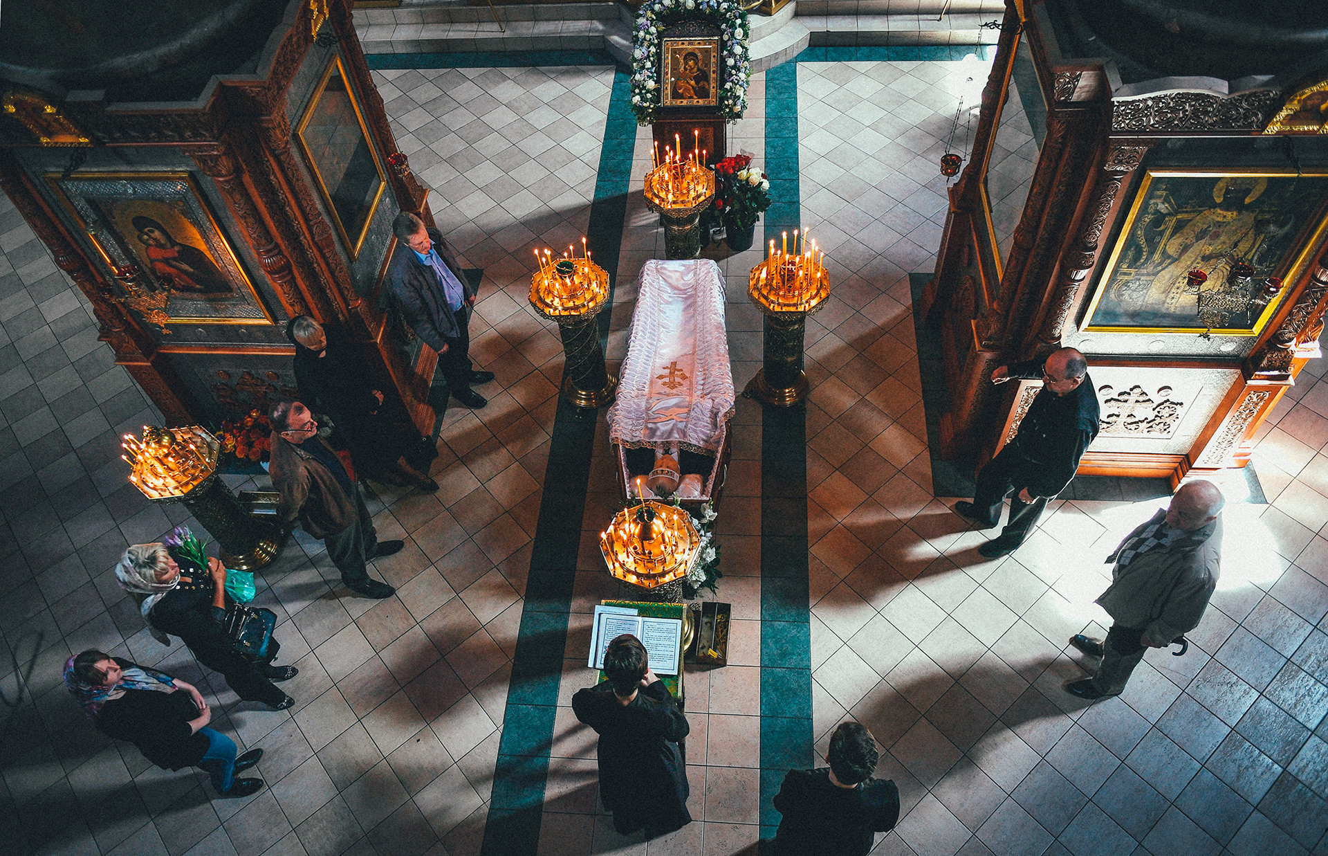 Memorial service in a Russian church