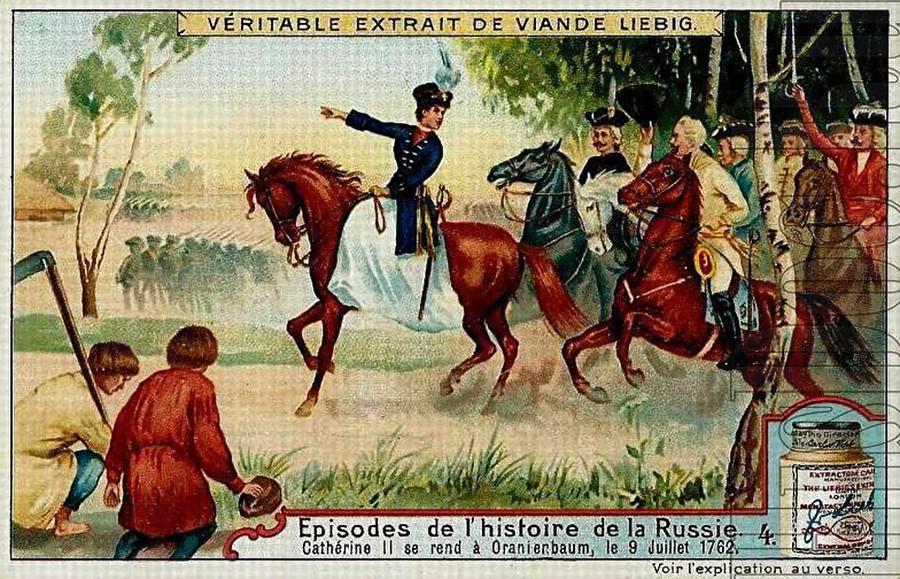 Iklan kaldu daging Belgia menampilkan Ekaterina yang Agung dalam perjalanan menuju Istana Oranienbaum di Sankt Peterburg pada 1762.