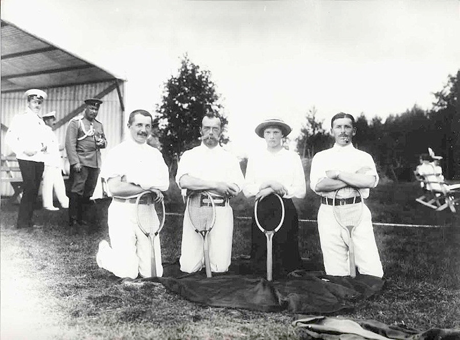 Nicholas II, his daughter Grand Princess Tatiana and friends after a tennis game