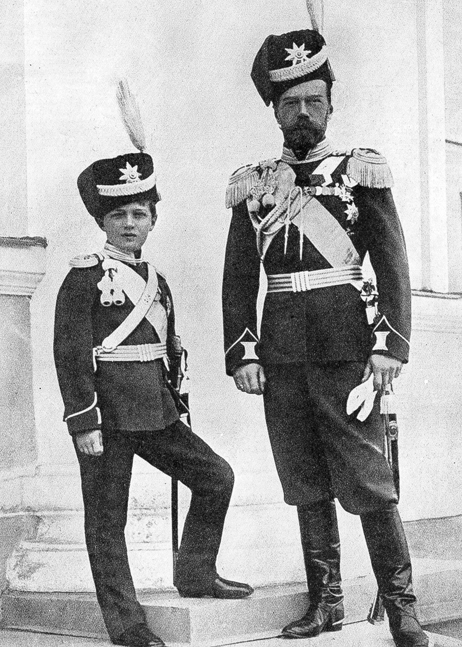 Nicholas II with his son Alexis in military uniform.
