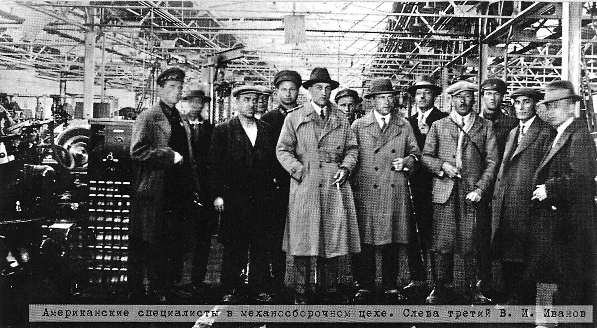 American specialists inside an auto factory designed by Detroit master-builder Albert Kahn in Chelyabinsk in 1932