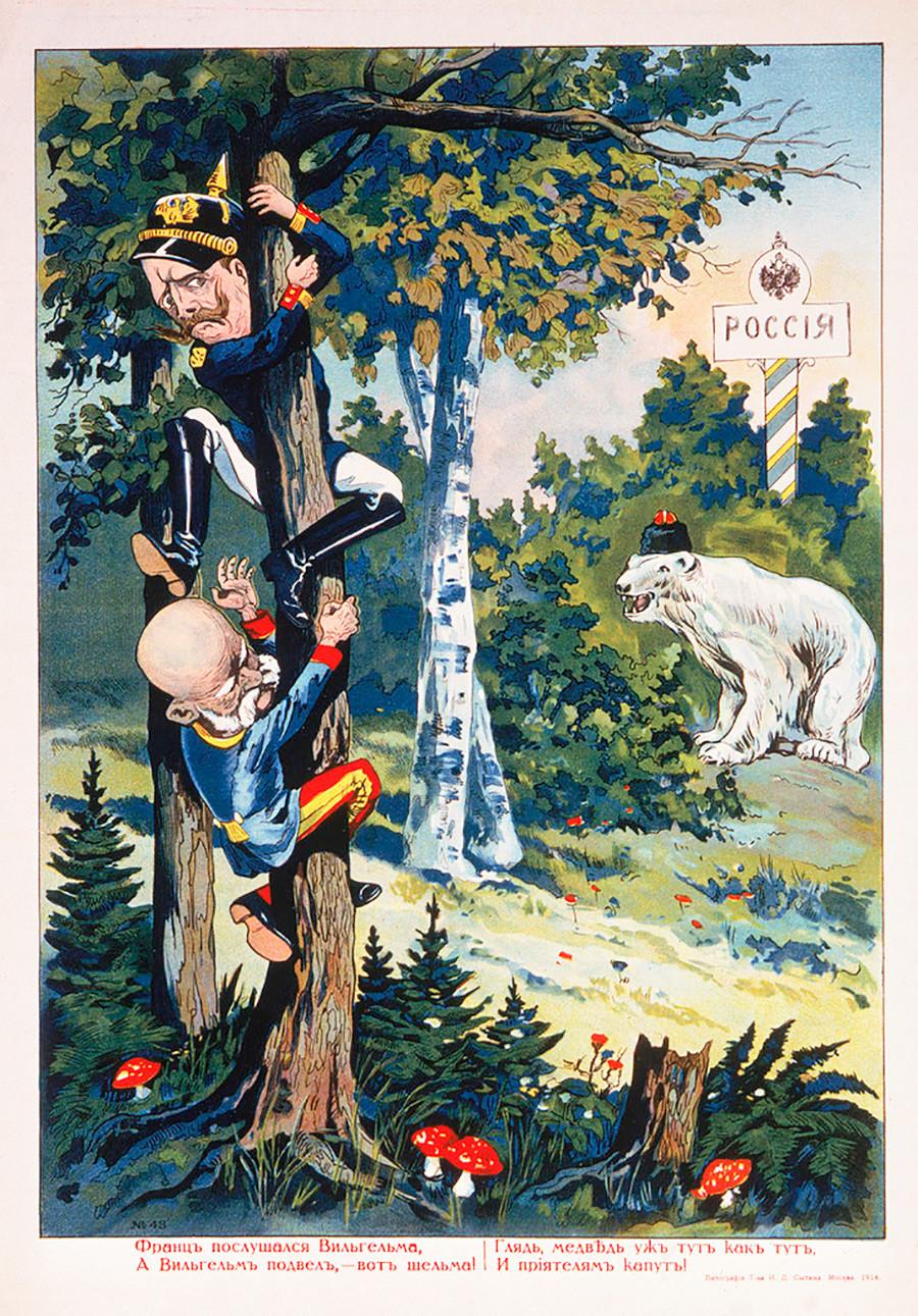 Ruski beli medved je Viljema II. in Franca Jožefa pregnal na drevo.