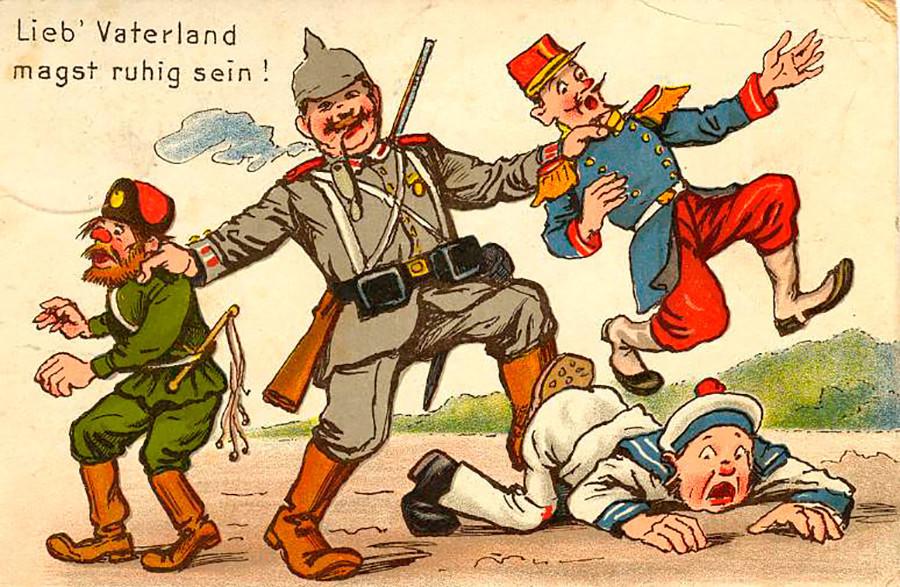 »Preljuba domovina, mirno kri!« se glasijo verzi iz nemške domoljubne himne Straža na Renu.