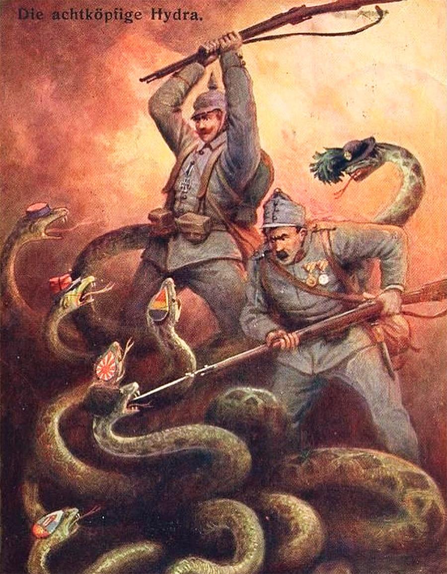 Nemški in avstrijski vojak v boju proti osemglavemu zmaju.