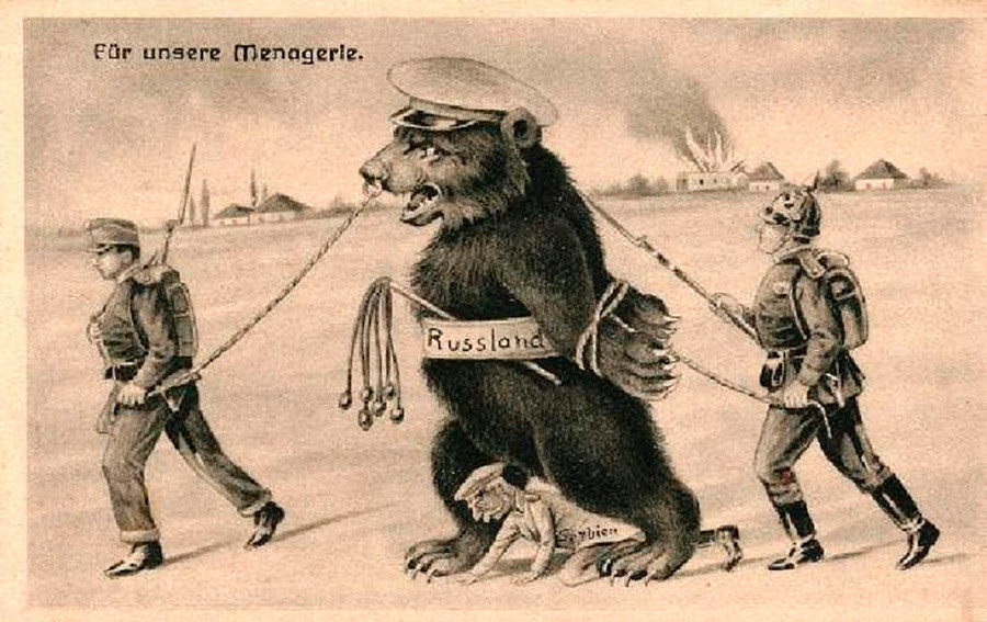 »Bi rad videl naš zverinjak?«: centralne sile so ruskega medveda zaplenile za svojo zbirko divjih zveri, v kateri bo končal tudi ponižni srbski zaveznik, ki se plazi med njegovimi šapami.