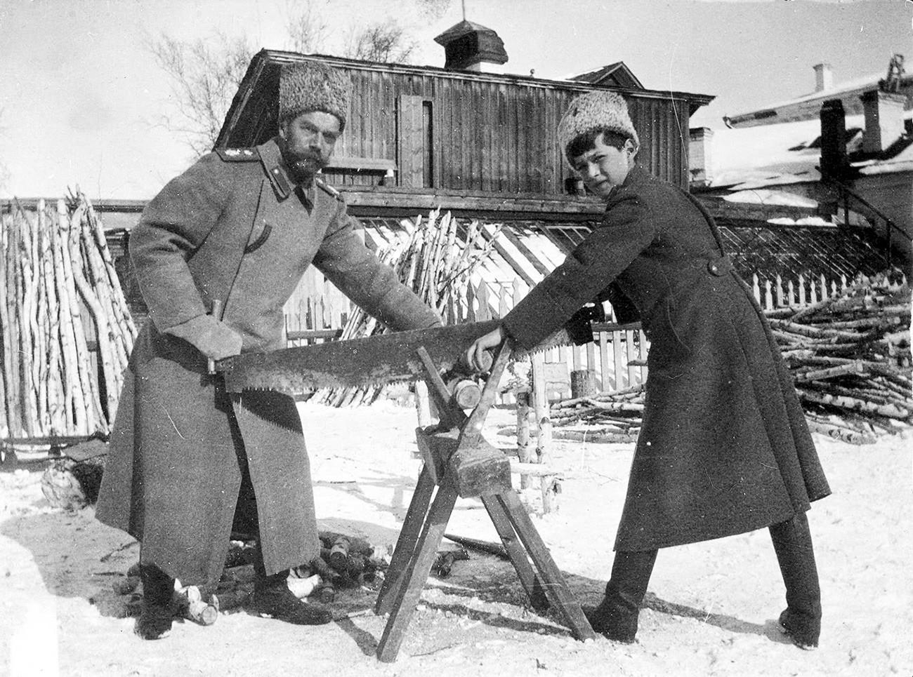 アレクセイ・ネコラエヴィチ皇太子とニコライ2世がトボルスクで材木をひいている。