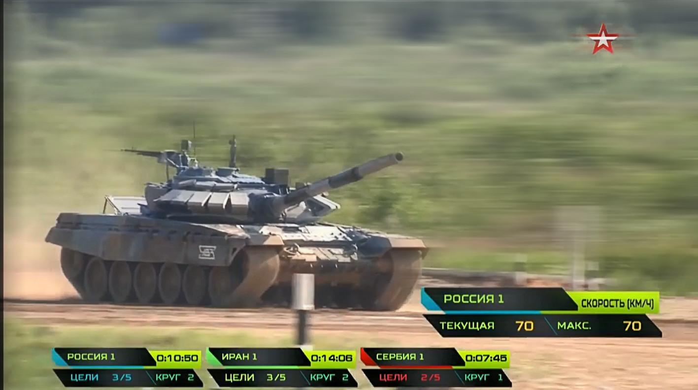 Моменат када је руска посада са тенком Т-72Б3 достигла брзину од 70км/ч