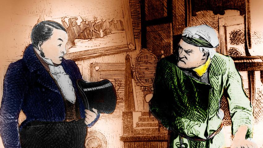 """Иллюстрация к поэме Н.В. Гоголя """"Мертвые души"""", визит Чичикова (слева) к Плюшкину."""