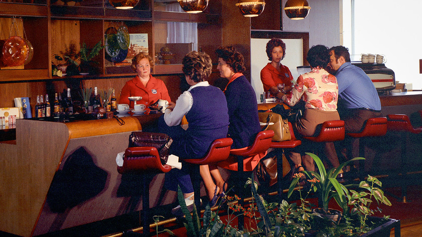 "A bar in Moscow's Hotel ""Intourist"". 1974."