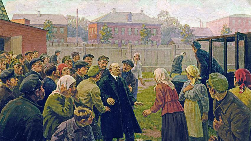 "Pintura de M.G. Sokolov. ""Tentativa de assassinato a Vladímir Lênin, 30 de agosto de 1918"". No Museu Central Vladímir Lênin."