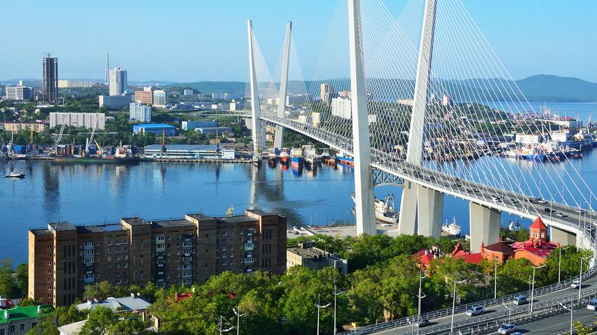 The bridge across the Golden horn bay in Vladivostok in cloudy weather, Russky Island