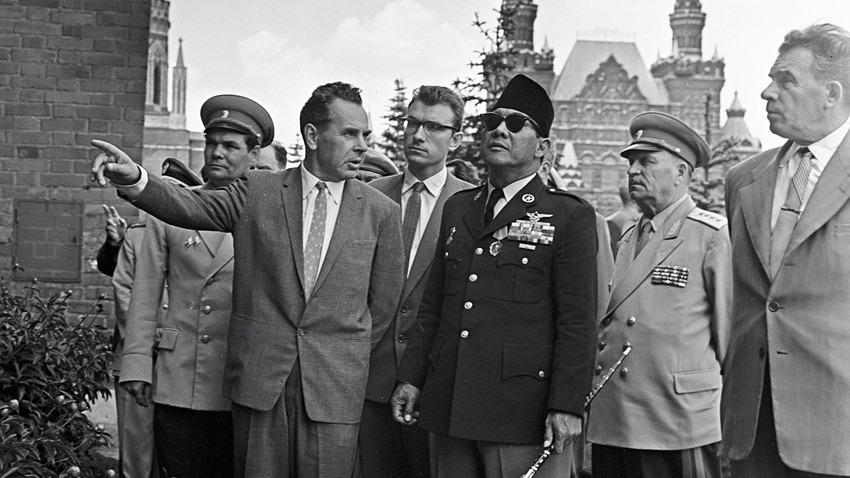 President of Indonesia Dr. Ahmed Sukarno inspecting the Moscow Kremlin.