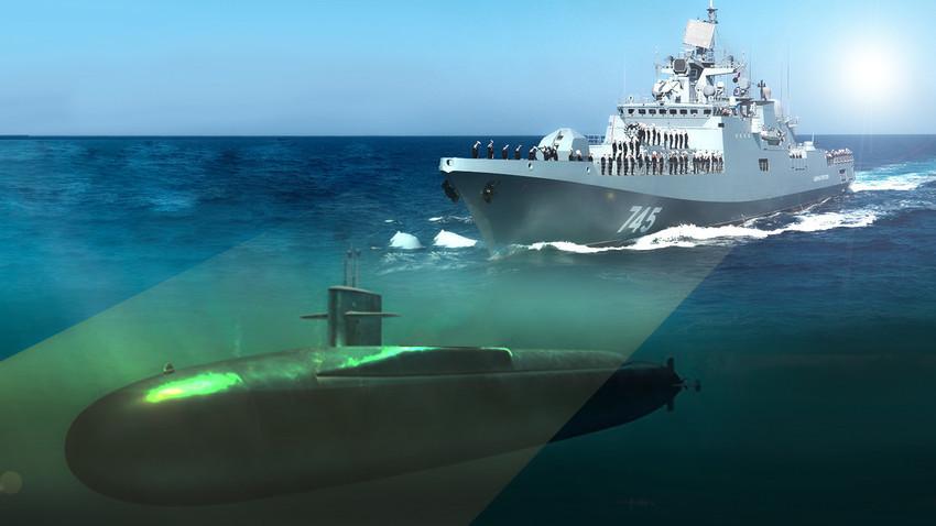 """Ruska fregata """"Admiral Essen"""" u potjeri za američkim podvodnim raketonoscem."""