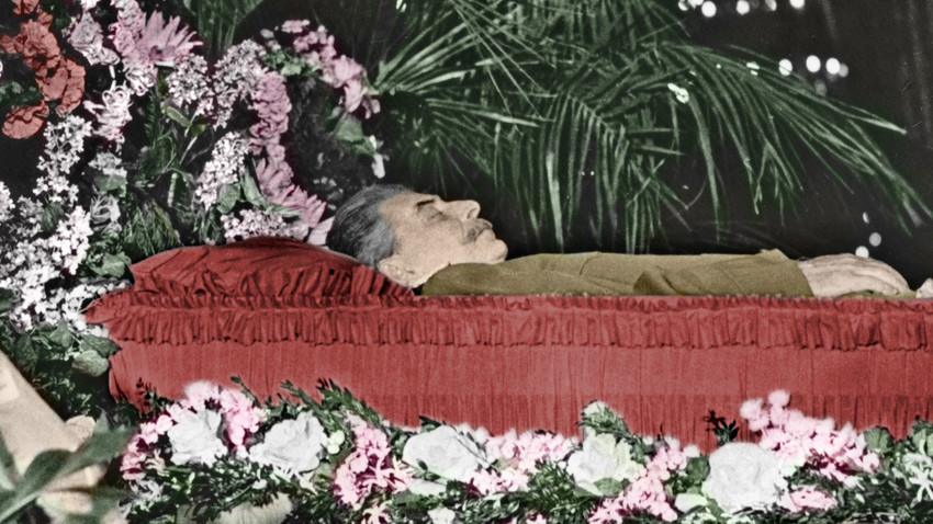 Joseph Stalin (as a mummy) lying in a coffin, 1953.
