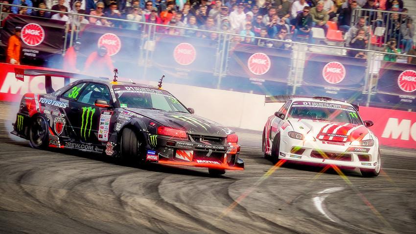 国際自動車ドリフト競技大会「アジア・パシフィックD1プリムリングGP2017」でのペアのレース。