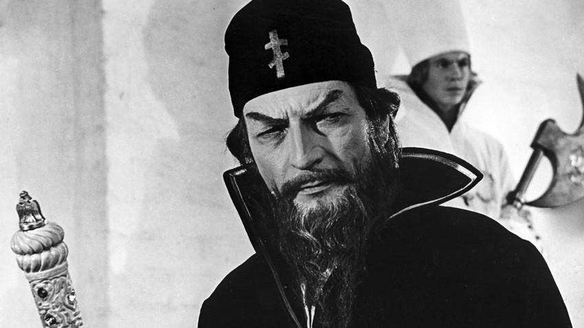 """Cena do filme """"Tsárskaia nevesta"""" (1965, em tradução livre, """"A noiva do tsar""""), em que Piotr Glebov fez o papel do tsar Ivan, o Terrível."""
