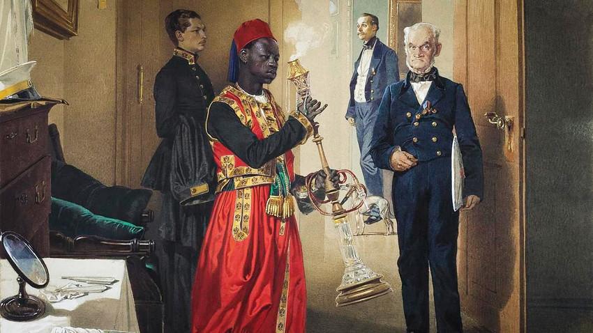 Der Vorraum im Zarenpalast in Zarskoje Selo von Mihály Zichy, 1865