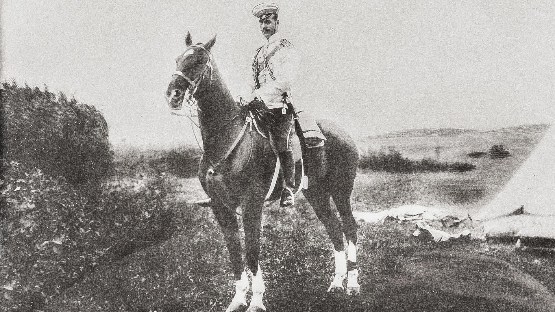 Michael Alexandrovich (1878-1918) on horseback.