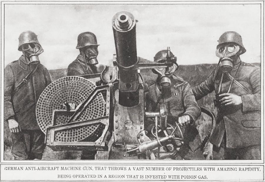 Mitrailleuse allemande anti-aérienne, tirant un large nombre de projectiles à une incroyable rapidité et opérant dans une région infestée par un gaz empoisonné