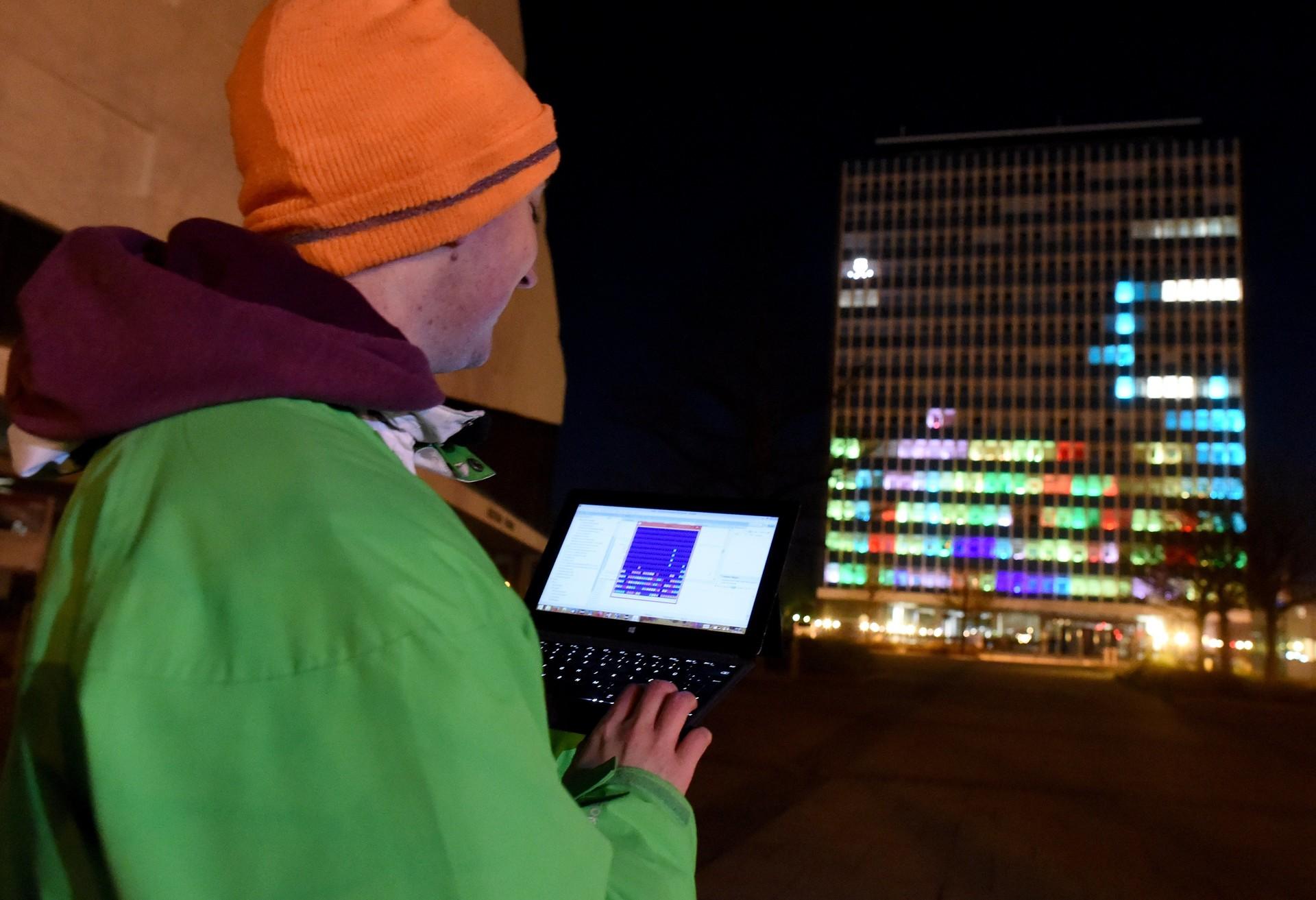 Tetris na stolpnici, Kiel, Nemčija, 2016