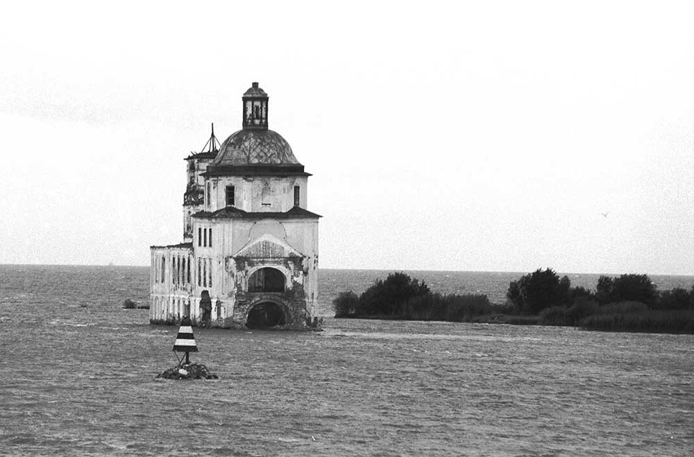 Krokhino. Church of the Nativity of Christ, east view from Sheksna River. August 8, 1991.