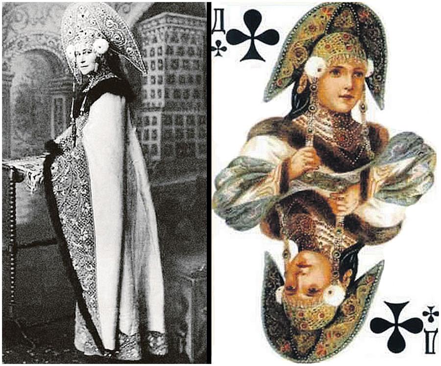 Ratu pada kartu remi keriting yang mencontoh pakaian Grand Duchess Elizaveta Fedorovna.