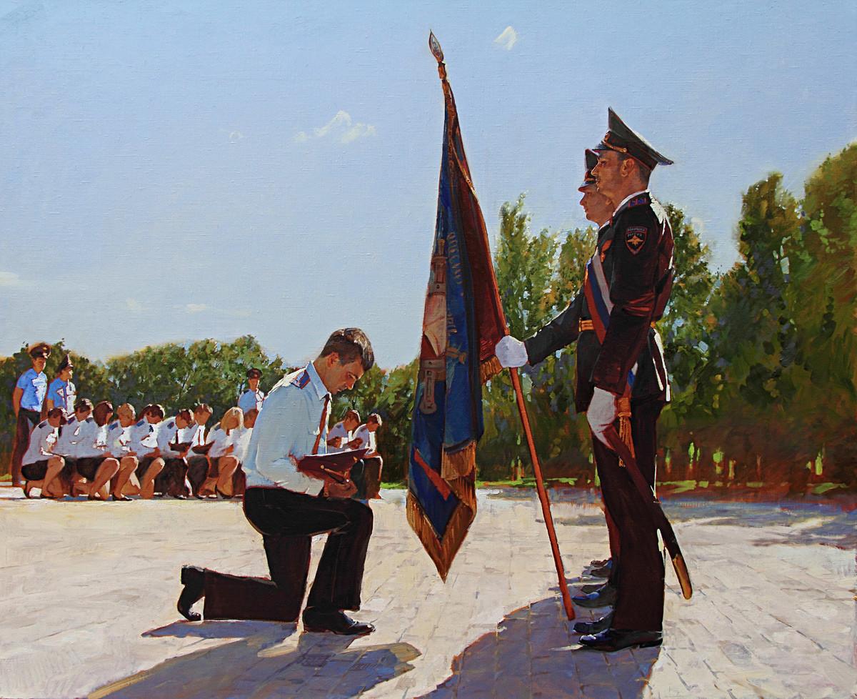 """Anton Chumeiko, """"Adeus à bandeira"""", 2012 (cerimônia de aposentadoria da academia militar)"""