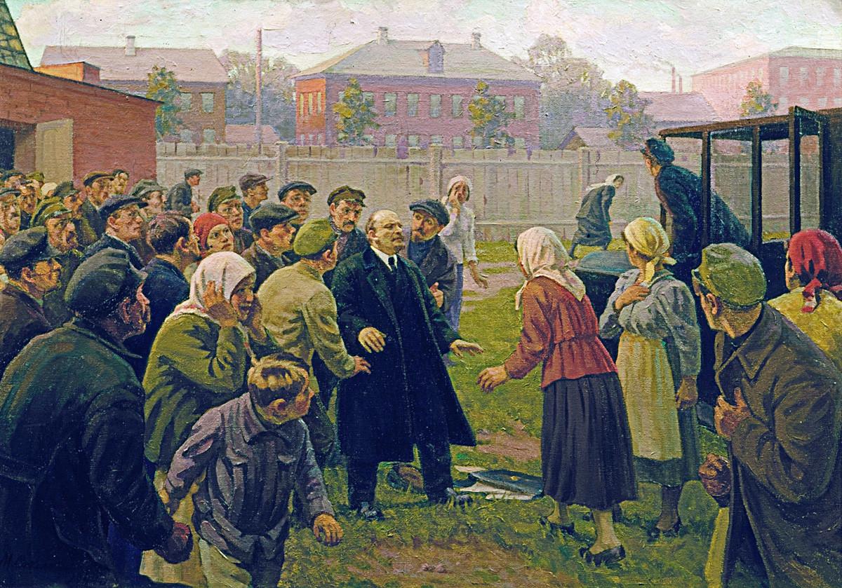 M.G. Sokolov. « Tentative d'assassinat à l'encontre de Vladimir Lénine, le 30 août 1918 », Musée central Vladimir Lénine.