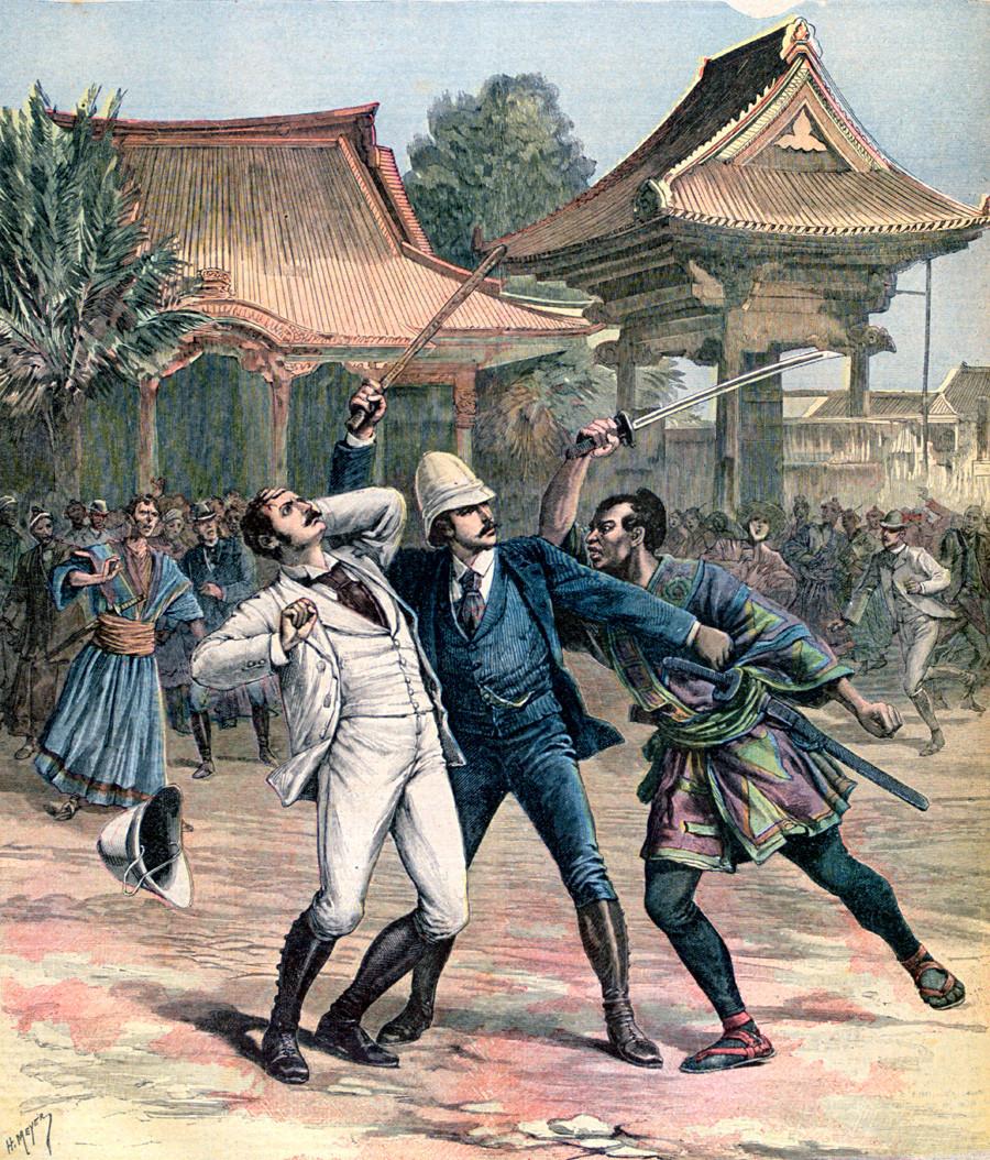 Tentative échouée d'assassinat contre le tsarévitch Nicolas Alexandrovitch de Russie (le futur Nicolas II) au Japon, le 11 mai 1891. Illustration d'un supplément du Petit Journal datant du 30 mai 1891.