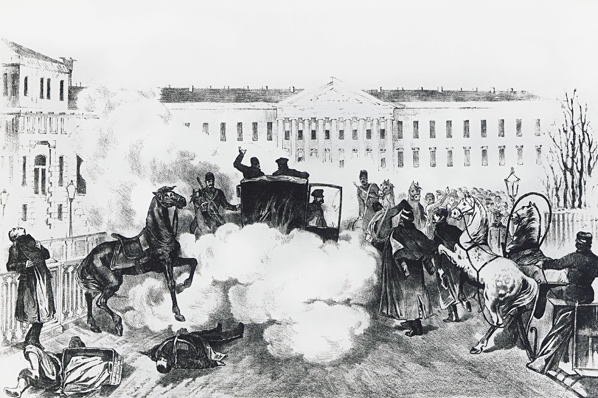 Assassination of Czar Alexander II in St Petersburg, March 13, 1881, Russia, 19th century.