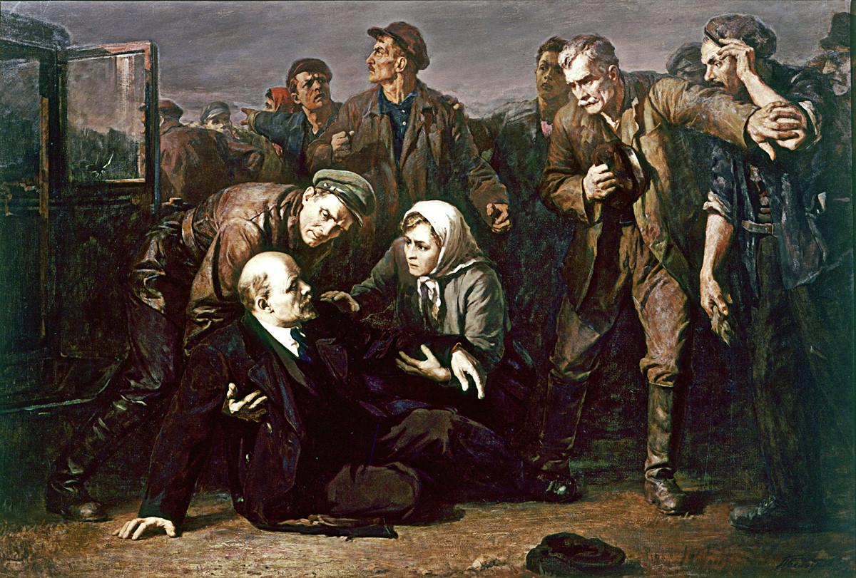 """""""Atentado contra a vida de Vladímir Lênin"""". Filial de Leningrado (São Petersburgo) do Museu Central Vladímir Lênin."""