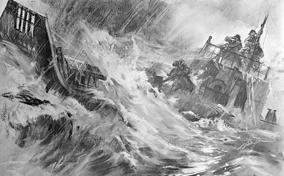 Reprodukcija risbe Na nevihtnem oceanu Gorpenka in Denisova iz albuma posvečenega štirim sovjetskim mornarjem