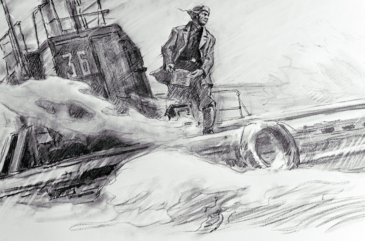 Reprodukcija risbe Ashat Ziganšin kuha večerjo Gorpenka in Denosova iz albuma posvečenega štirim sovjetskim mornarjem