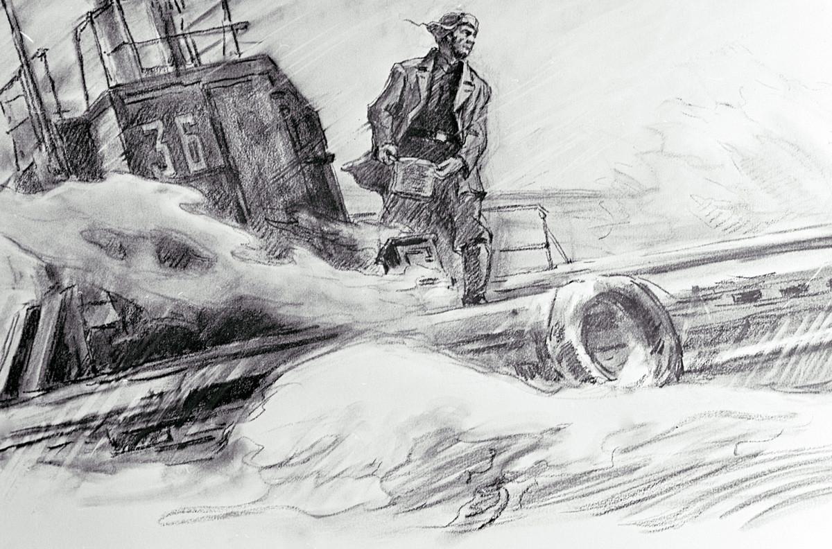 グレコフ・スタジオのゴルペンコとグレコフが描いた「夕食を作っているアスハト・ジガンシン」の複写物